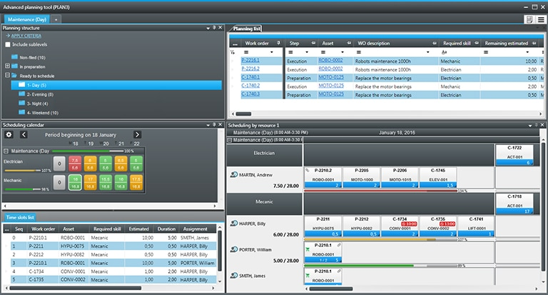 planning and scheduling tool printscreen